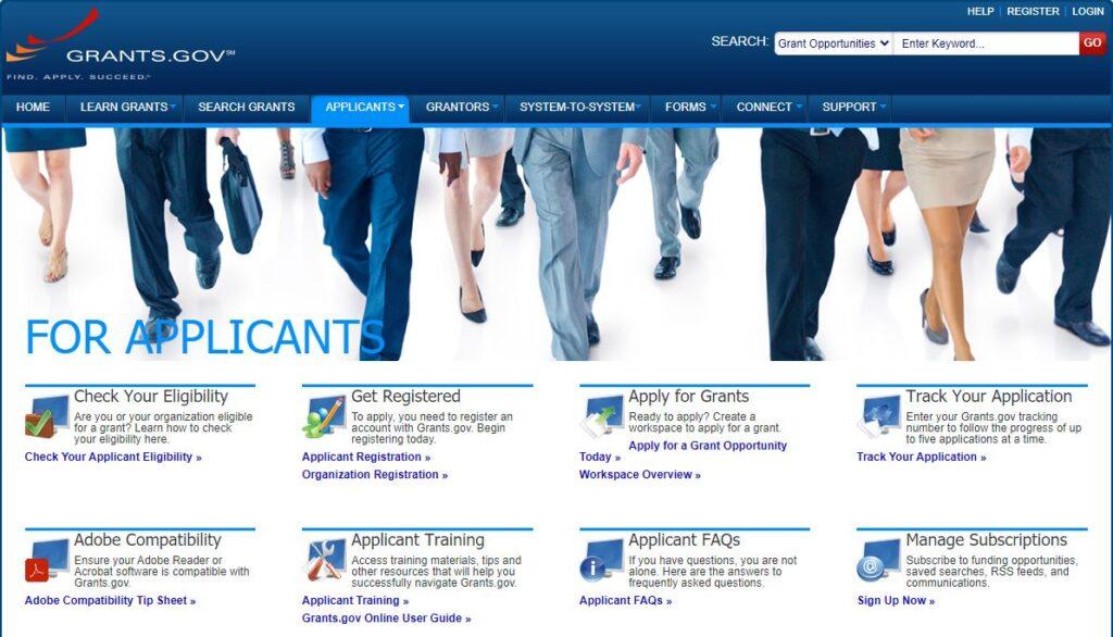 Grants.gov track government grants application